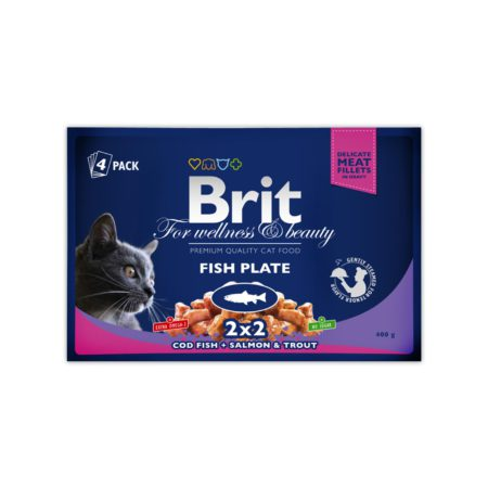 Brit Premium Pouches Cat Fish Plate X 4Un 400 Gr